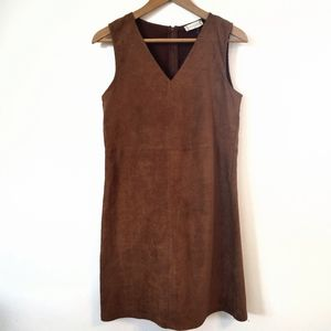 🌿Altar'd State Brown Suede Sleeveless Shift Dress